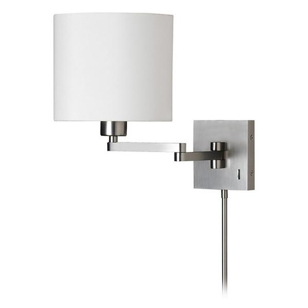 1-Light Cast Metal Swing Arm Lamp - White Tapered Drum Shade DMWL7713-SC