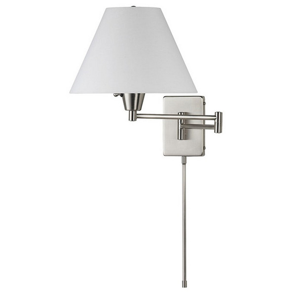 Swing Arm Wall Lamp - Satin Chrome with White Linen Shade DMWL800-SC
