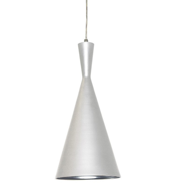 Dainolite 1 Light Pendant- Matte White Silver HKI-81P-WH