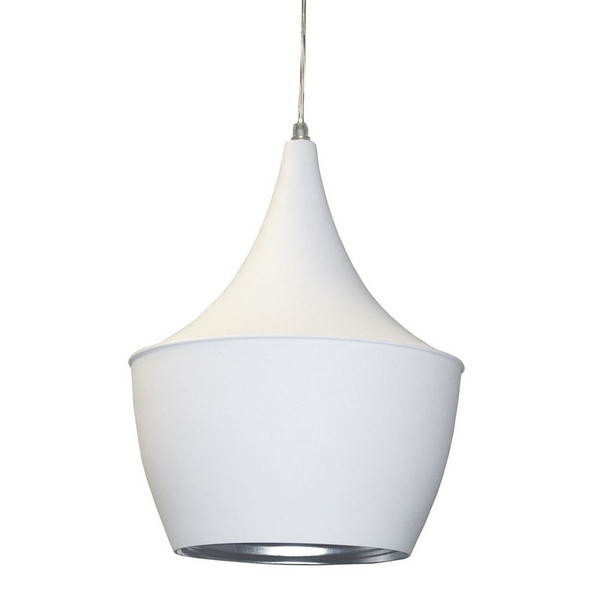 Dainolite 1 Light Pendant- Matte White Silver HKI-91P-WH