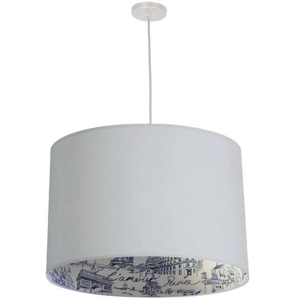 3Lt Drum Pendant, White With White/Silver/Amour Shade KAT-241P-WH-AMOUR