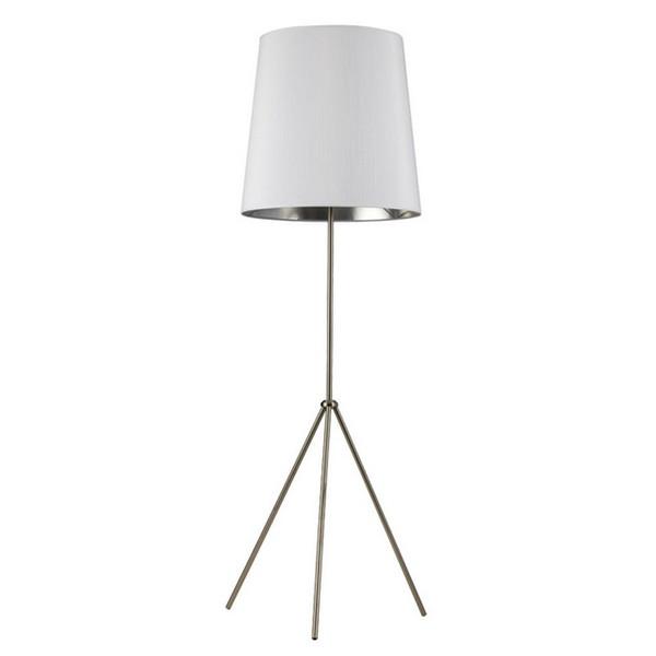 1-Light 3 Leg Oversize Drum Floor Lamp - White/Silver Shade OD3-F-691-SC
