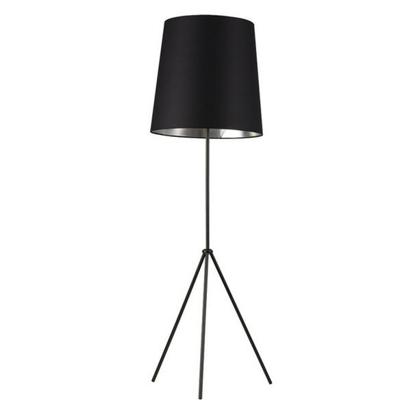1-Light 3 Leg Oversize Drum Floor Lamp - Black/Silver Shade OD3-F-697-MB