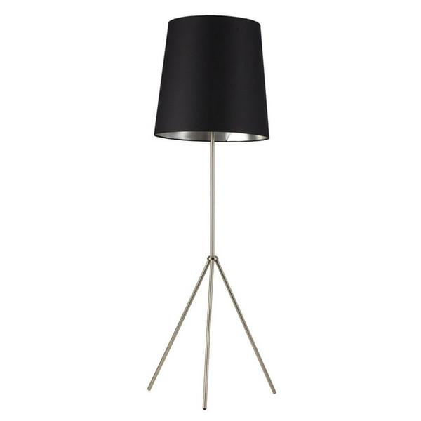 1-Light 3 Leg Oversize Drum Floor Lamp - Black/Silver Shade OD3-F-697-SC