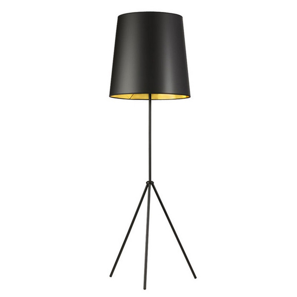 1-Light 3 Leg Oversize Drum Floor Lamp - Black/Gold Shade OD3-F-698-MB