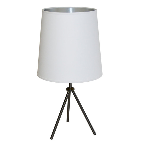 1Lt 3 Leg Drum Table Fixture With White-Silver Shade OD3T-L-691-MB