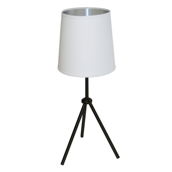 1Lt 3 Leg Drum Table Fixture With White-Silver Shade OD3T-S-691-MB