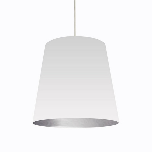 1-Light Oversized Drum Pendant with White/Silver Shade - Large OD-L-691