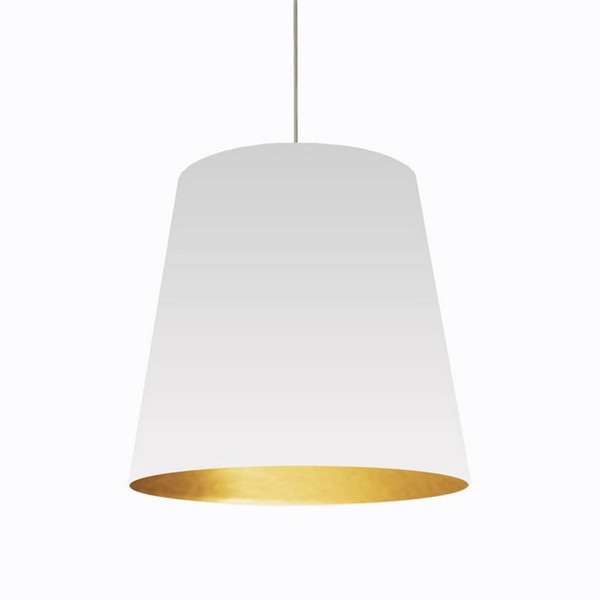 1-Light Oversized Drum Pendant with White/Gold Shade - Large OD-L-692