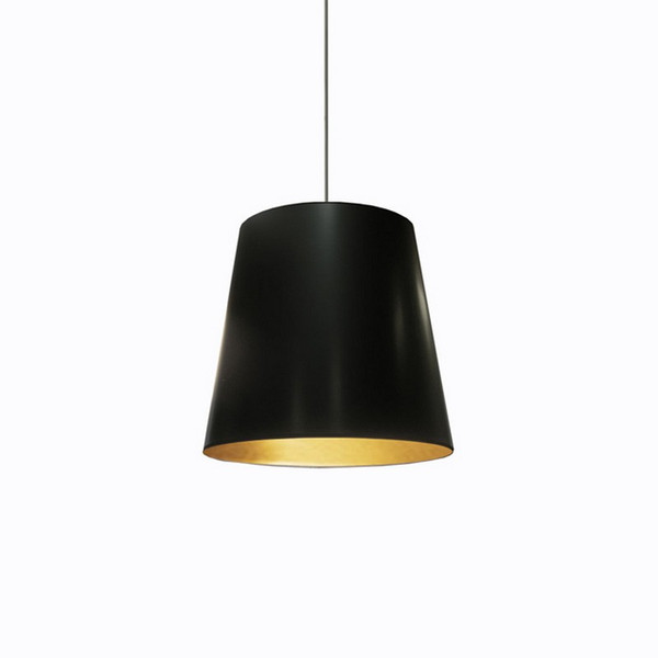 1-Light Oversized Drum Pendant with Black/Gold Shade - Medium OD-M-698