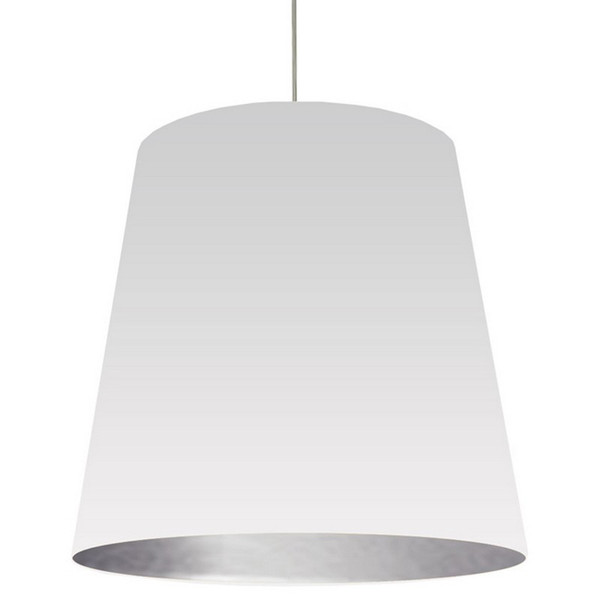 1-Light Oversized Drum Pendant with White/Silver Shade OD-XL-691