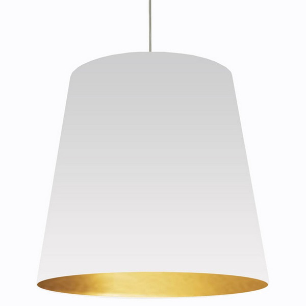 1-Light Oversized Drum Pendant with White/Gold Shade OD-XL-692
