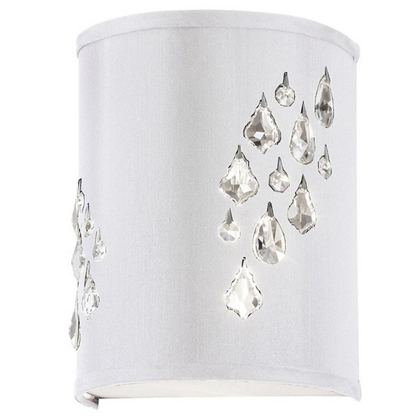 2-Light Wall Sconce w/ Crystal Accents Right-White/Silver RHI-8R-2W-693