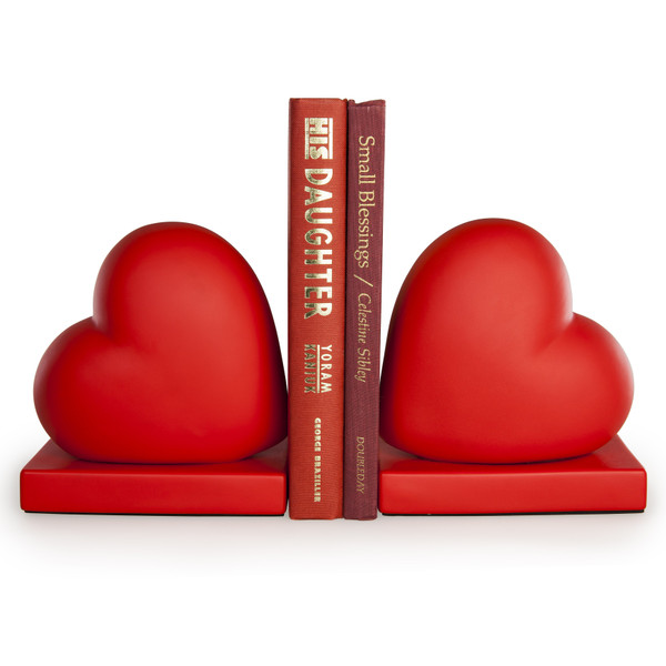 CSK8043 Red Hearts Bookend Set By Danya B