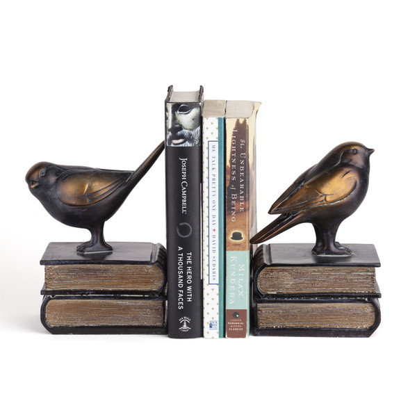 DS781 Birds On Books Bookend Set By Danya B