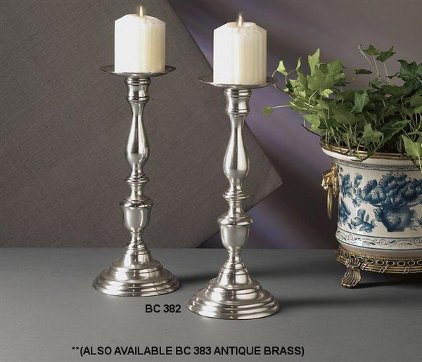 BC383 Antique Brass Pilar Candle Holder (Pack of 4) by Dessau