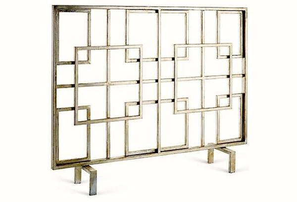 HC671 Silver Squares Iron Firescreen by Dessau Home