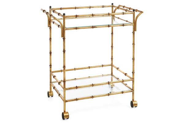 HC688 Antique Gold Iron Bamboo Tea Cart by Dessau Home