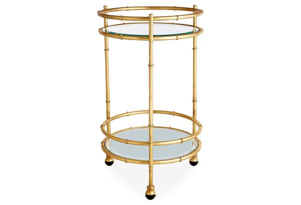 HC704 Iron Gold Round Bamboo Bar Cart by Dessau Home