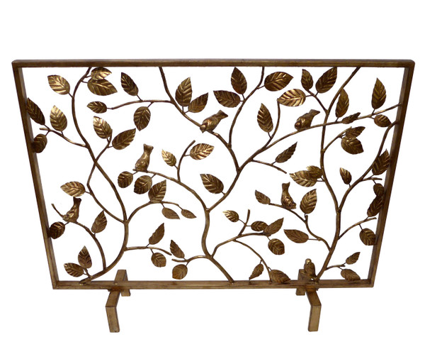 HC717 Antique Gold Bird Branch Iron Firescreen by Dessau Home