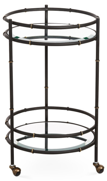 HC727 Black And Gold Round Bamboo Beverage Cart by Dessau Home