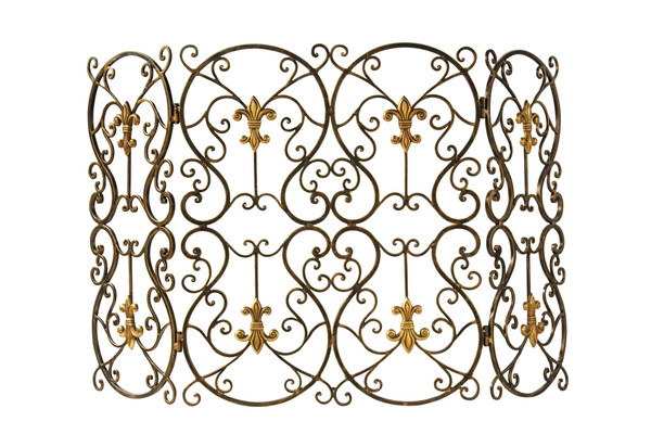 ME2061 Fleur De Lis Firescreen Bronze Iron With Brass Medall