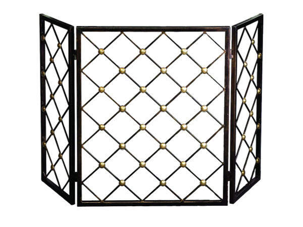 ME2190 Button Firescreen Bronze Iron With Brass Accents by Dessau Home