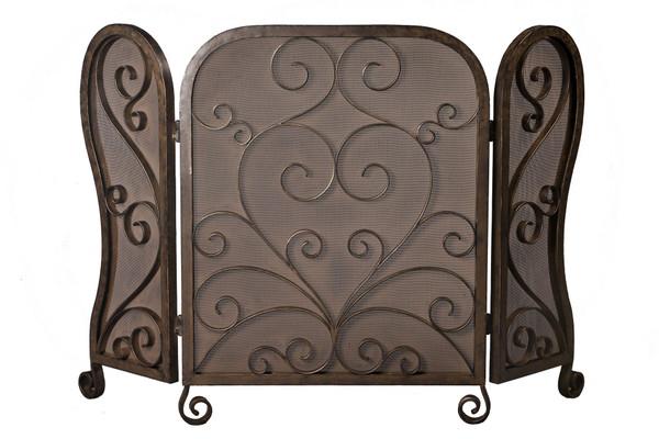 ME2295 Bronze Mesh Iron Scroll Firescreen by Dessau Home