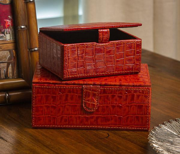 N909 Burnt Orange Croc Leather S Of 2 Boxes by Dessau Home