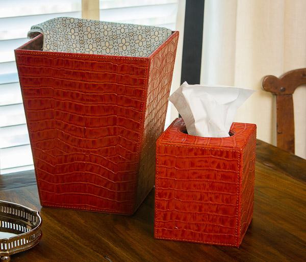 N910 Burnt Orange Leather Croc Waste Basket by Dessau Home