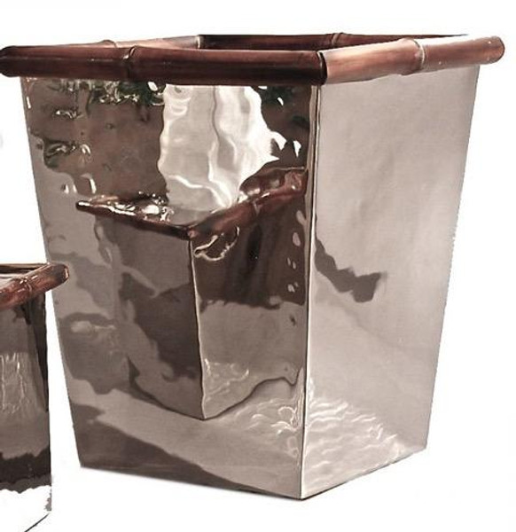 ST302 Nickel With Bamboo Waste Basket by Dessau Home