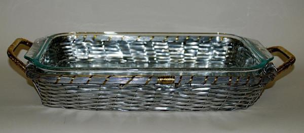 U2200 Woven Aluminum Pyrex Baker w/Brass Accessories (Pack of 4)