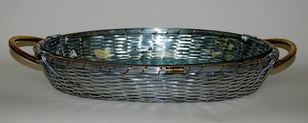 U2204 Woven Aluminum Oval Pyrex Beaker w/ Brass Accents (Pack of 4)