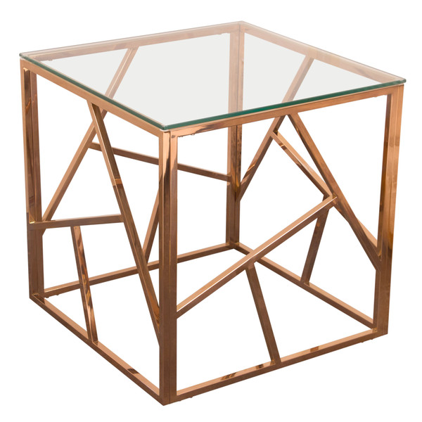 Nest Square End Table with Clear Tempered Glass Top and Polished Stainless Steel Base in Rose Gold Finish NESTETRG