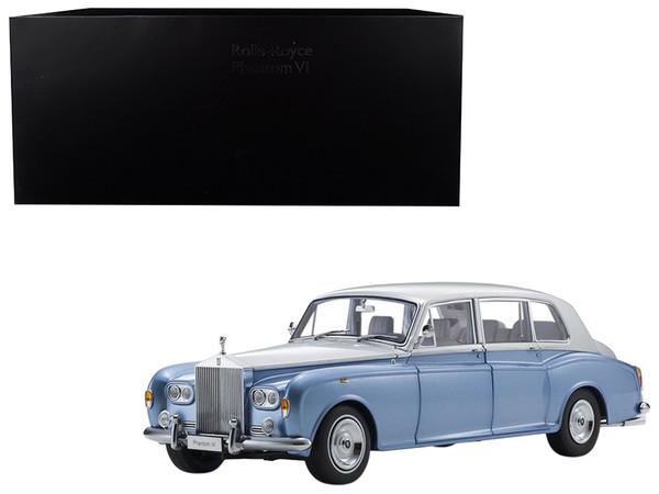 Rolls Royce Phantom VI Light Blue with Silver Top 1/18 Diecast Model Car by Kyosho 08905LBS