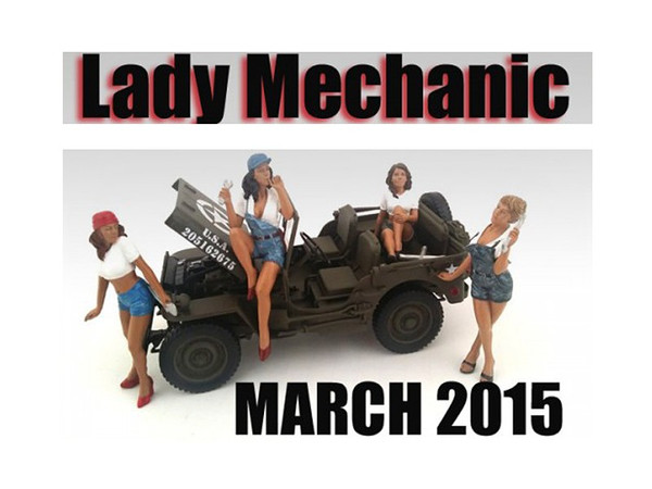 """""""Lady Mechanics"""" 4 Piece Figure Set For 1:18 Scale Models by American Diorama 23859-23860-23861-23862"""