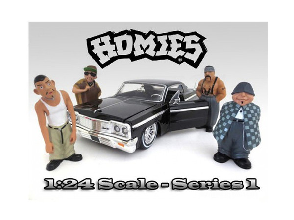 """Homies"" Figure Set of 4pc For 1:24 Scale Diecast Model Cars by American Diorama 23949-23950-23951-23952"