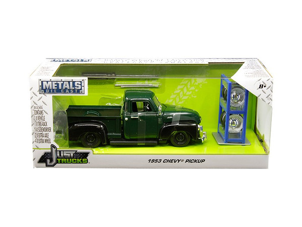 """1953 Chevrolet 3100 Pickup Truck Green with Extra Wheels """"Just Trucks"""" Series 1/24 Diecast Model Car by Jada 30521"""
