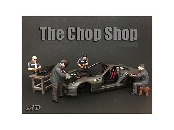 """Chop Shop"" 4 Piece Figure Set for 1:24 Scale Models by American Diorama 38259-38260-38261-38262"