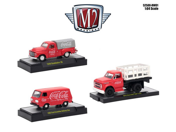"""""""Coca-Cola"""" Release 1 Set of 3 Cars Limited Edition to 4800 pieces Worldwide Hobby Exclusive 1/64 Diecast Models by M2 Machines 52500-RW01"""