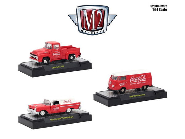 """""""Coca-Cola"""" Release 2 Set of 3 Cars Limited Edition to 4800 pieces Worldwide Hobby Exclusive 1/64 Diecast Models by M2 Machines 52500-RW02"""