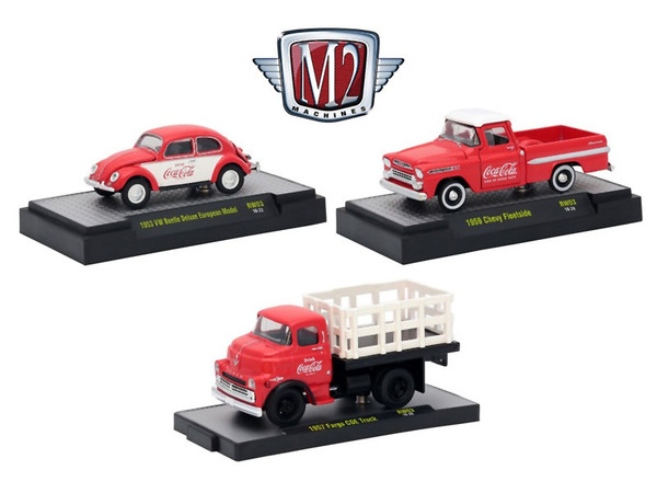 """""""Coca-Cola"""" Release 3 Set of 3 Cars Limited Edition to 4800 pieces Worldwide Hobby Exclusive 1/64 Diecast Models by M2 Machines 52500-RW03"""