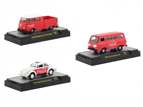 """""""Coca-Cola"""" Release 4 Set of 3 Cars Limited Edition to 4800 pieces Worldwide Hobby Exclusive 1/64 Diecast Models by M2 Machines 52500-RW04"""