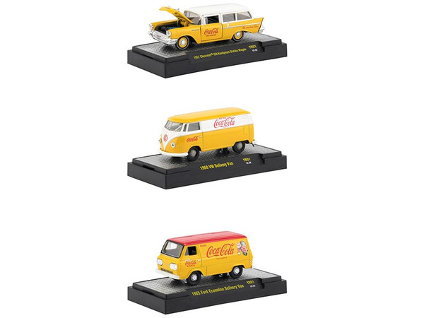 """""""Coca-Cola"""" Yellow Set of 3 Cars Limited Edition to 4800 pieces Worldwide Hobby Exclusive 1/64 Diecast Models by M2 Machines 52500-YR01"""