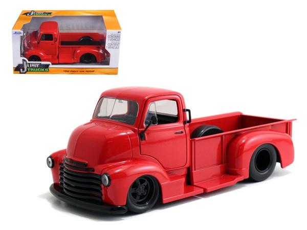 1952 Chevrolet Coe Pickup Truck Red With Black Wheels 1/24 Diecast Model By Jada (Pack Of 2) 97046