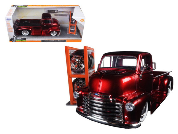 "1952 Chevrolet COE Pickup Truck Red ""Just Trucks"" with Extra Wheels 1/24 Diecast Model by Jada 97225"