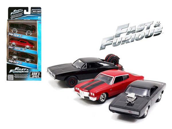 """""""Fast And Furious"""" Dom""""'S Rides Dodge Chargers And Chevelle 3 Pack Set 1/55 Diecast Model Cars By Jada (Pack Of 2) 97426"""