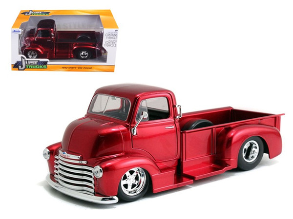 1952 Chevrolet Coe Pickup Truck Red With Chrome Wheels 1/24 Diecast Model By Jada (Pack Of 2) 97460