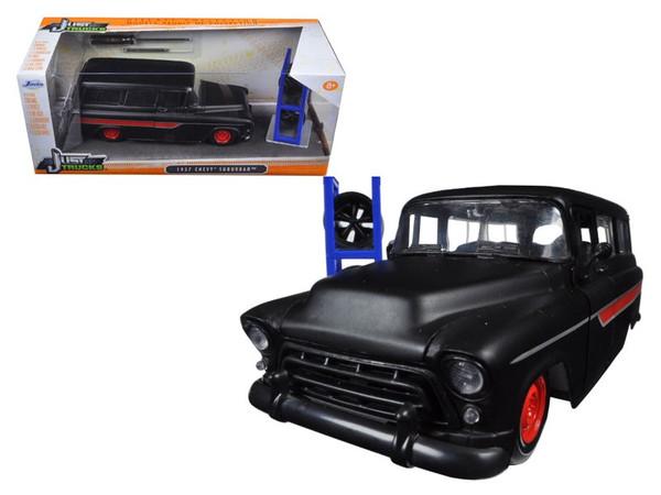 "1957 Chevrolet Suburban Matt Black / Red ""Just Trucks"" with Extra Wheels 1/24 Diecast Model Car by Jada 97686"