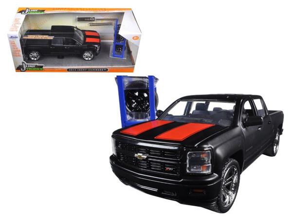 """2014 Chevrolet Silverado Pickup Truck Matt Black """"Just Trucks"""" with Extra Wheels 1/24 Diecast Model by Jada 97690"""